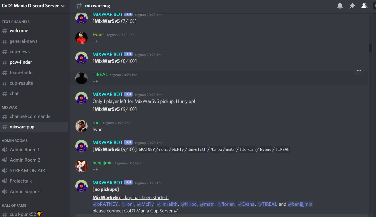 CoD1 Mania mixwars on Discord